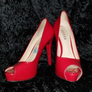 Guess Bright Red Patent heels
